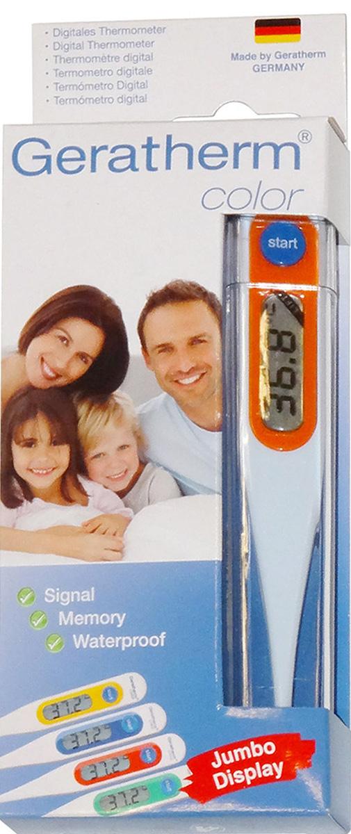 Geratherm Электронный термометр Color цвет оранжевый4018674401500Электронный термометр Geratherm Color предназначен для измерения температуры у ребенка. Термометрподходит для измерения температуры под мышкой, орально и ректально. Благодаря удобному дисплею извуковому сигналу измерять температуру малышу максимально просто и легко.Электронный термометр обеспечивает точность измерения с погрешностью до 0,1°С. Предусмотрен индикаторразряда батареи. Время измерения составляет примерно 30-90 секунд в зависимости от метода измерения.Имеется два независимых теста автоматической проверки функционирования. 100% водонепроницаемый.Термометр оснащен функцией запоминания последнего измерения. Увеличенный дисплей со встроенной линзойпредназначен для слабовидящих людей. Устройство также имеет индикатор состояния элемента питания,звуковой сигнал, ударопрочный корпус и функцию автоматического отключения. Измерение температуры электронным термометром имеет особенности по сравнению с ртутным термометром итребует точного соблюдения инструкции.Срок службы батарейки составляет свыше 3-х лет при 10-ти измерениях в день Диапазон измерений: 32-43,9 °С Разрешение: 0,1 °С Не содержит ртуть Термометр упакован в пластиковый футляр Для работы термометра рекомендуется докупить 1 батарейку напряжением 1,5V типа LR41 (входит в комплект)