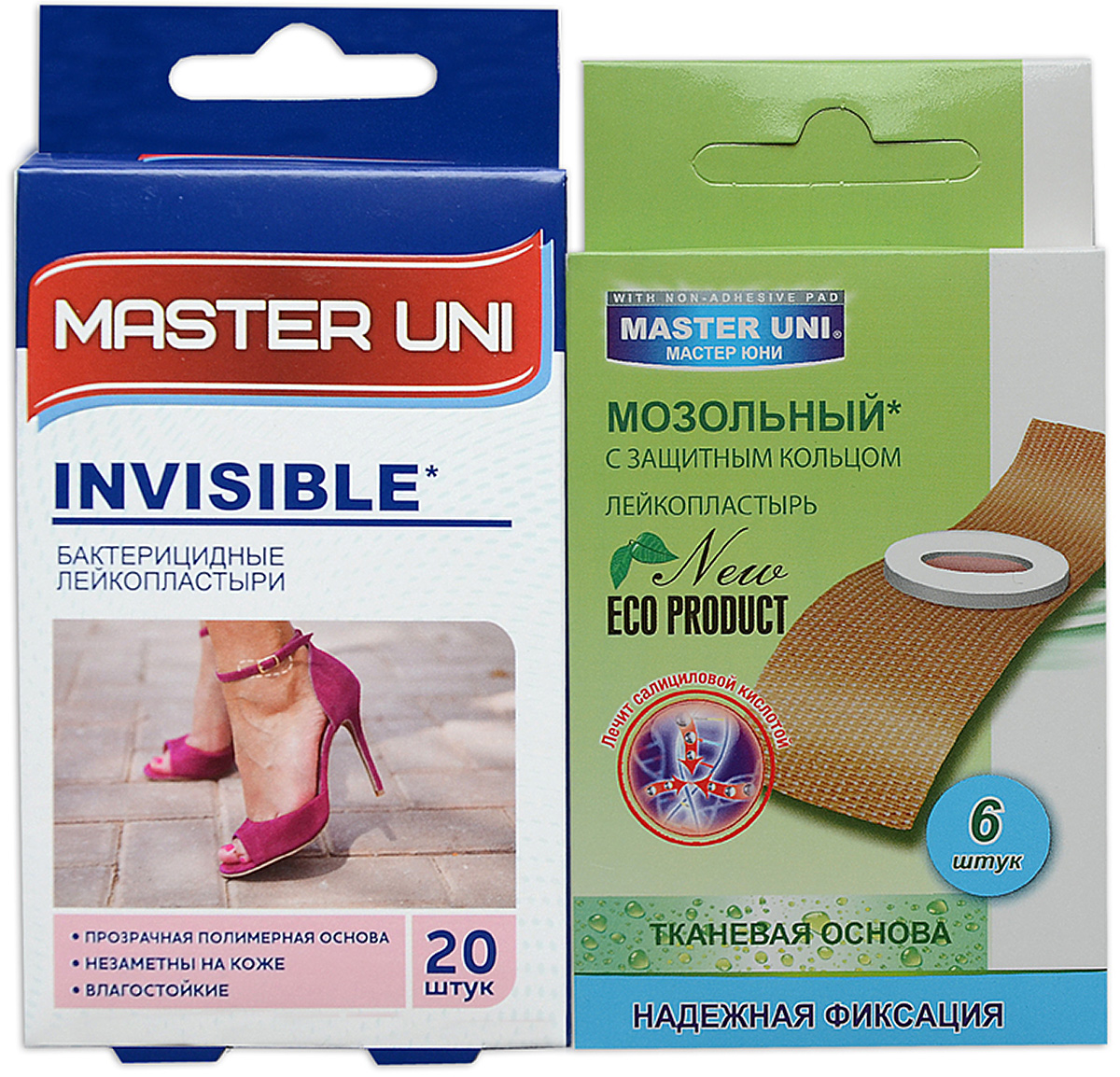 Master Uni Mix Invisible набор лейкопластырей, 20+6шт17021МMIX INVISIBLE - состоит из двух видов лейкопластырей - бактерицидного и от сухих мозолей. Набор бактерицидных лейкопластырей на прозрачной полимерной основе надежно защищающих рану от попадания загрязнений. Эффективен при ссадинах, порезах и мелких повреждениях кожи. Прозрачная влагостойкая основа надежно фиксируется на коже, повторяя изгибы тела, абсорбирующая подушечка моментально всасывает раневые выделения, имеет дополнительную защиту от грязи и микробов со всех сторон, покрыта бактерицидной атравматической сеткой, которая не прилипает к ране. Антисептик: бензалкония хлорид, эффективно дезинфицирует и способствует быстрому заживлению раны без образования рубцов. Мозольный пластырь - эффективное средство для удаления ороговевшей кожи любой части стопы. Пластырь на тканевой основе надежно фиксируется на ноге и принимает нужную форму при ходьбе. Мягкое защитное кольцо пластыря предохраняет здоровую кожу от контакта с лечебным веществом - салициловой кислотой, которая безболезненно удаляет ороговевшую кожу с Ваших ступней и пальцев ног. Противопоказания: индивидуальная непереносимость, повреждения кожи, кожные заболевания. Master Uni MIX INVISIBLE - Мягкая и нежная кожа Ваших ног! В наборе: размеры 72х19 мм - 20шт, пластырь мозольный 65х20 мм - 6шт. Master Uni MIX INVISIBLE - отличное решение для всей семьи!