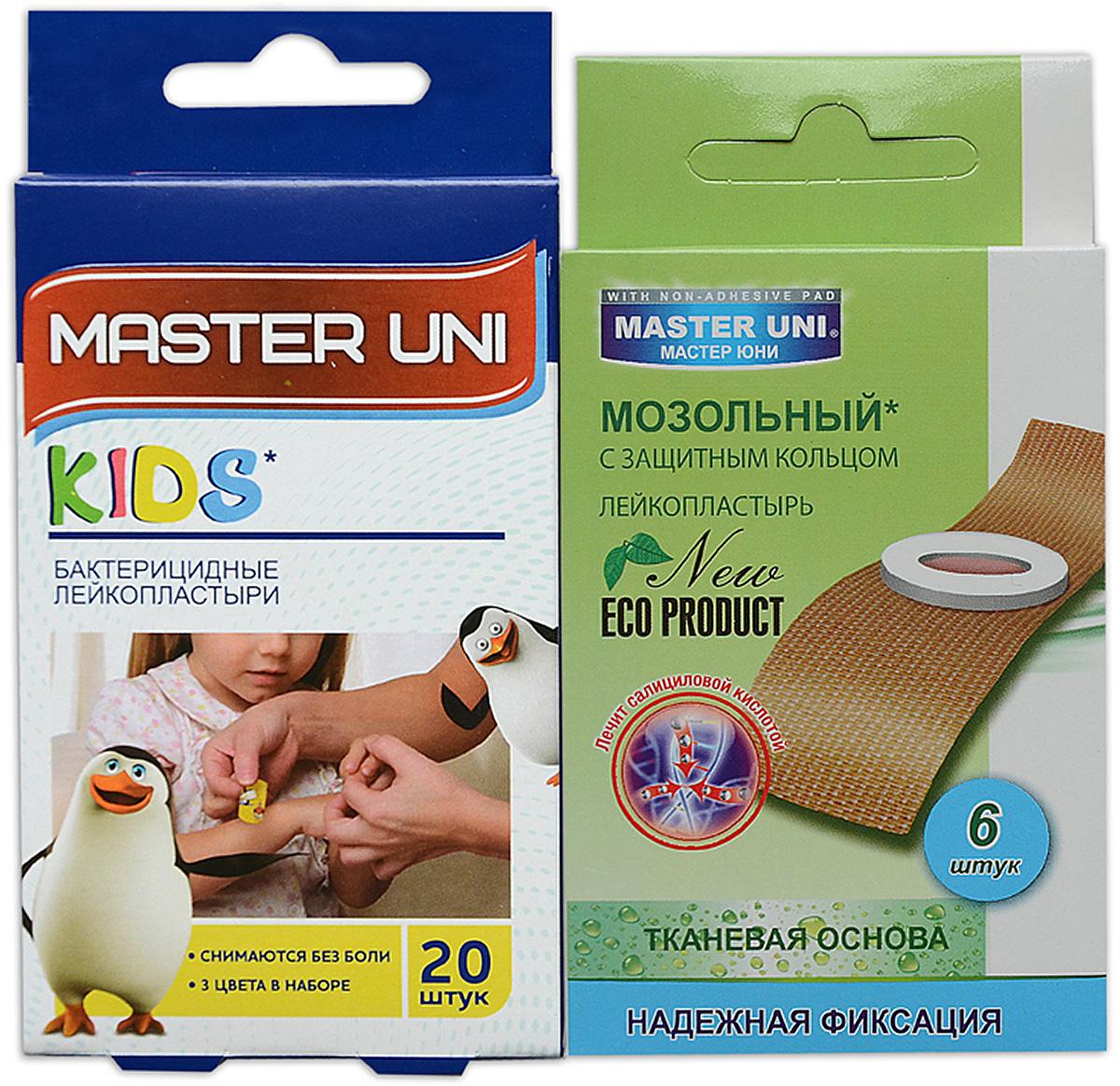 Master Uni MIX KIDS набор лейкопластырей, 20+6шт17024МMIX KIDS - состоит из двух видов лейкопластырей - бактерицидного и от сухих мозолей. Набор бактерицидных лейкопластырей на полимерной основе с рисунками надежно защищают ранку от попадания загрязнений. Эффективен при ссадинах, порезах и мелких повреждениях кожи. Прозрачная влагостойкая основа с веселыми рисунками для увлекательного лечения раны надежно фиксируется на коже, повторяя изгибы тела, абсорбирующая подушечка моментально всасывает раневые выделения, имеет дополнительную защиту от грязи и микробов со всех сторон, покрыта бактерицидной атравматической сеткой, которая не прилипает к ране. Сторона пластыря, контактирующая с кожей, не содержит красителей, кожа остается чистой. Антисептик: бензалкония хлорид, эффективно дезинфицирует и способствует быстрому заживлению раны без образования рубцов. Мозольный пластырь - эффективное средство для удаления ороговевшей кожи любой части стопы. Пластырь на тканевой основе надежно фиксируется на ноге и принимает нужную форму при ходьбе. Мягкое защитное кольцо пластыря предохраняет здоровую кожу от контакта с лечебным веществом - салициловой кислотой, которая безболезненно удаляет ороговевшую кожу с Ваших ступней и пальцев ног. Противопоказания: индивидуальная непереносимость, повреждения кожи, кожные заболевания. Master Uni MIX KIDS - Мягкая и нежная кожа Ваших ног! В наборе: размеры 56х19 мм - 20шт,3 цвета в наборе , пластырь мозольный 65х20 мм - 6шт. Master Uni MIX KIDS - отличное решение для всей семьи!
