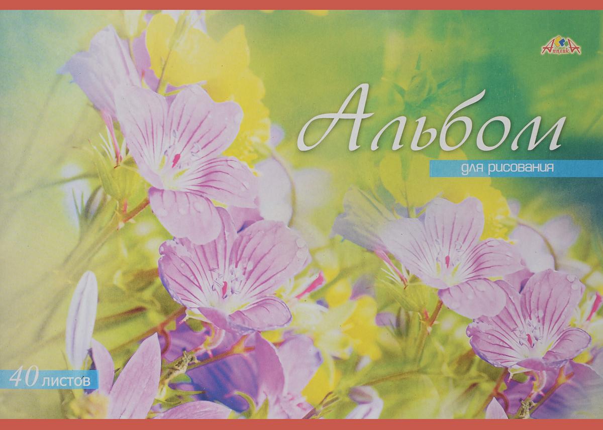 Апплика Альбом для рисования Цветы 40 листов цвет зеленый сиреневыйС0220-37_зеленый, сиреневыйАпплика Альбом для рисования Цветы 40 листов цвет зеленый сиреневый