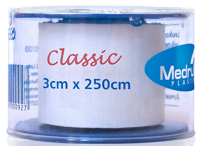 Medrull Лейкопластырь медицинский фиксирующий Classic, рулонный на текстильной основе, 3х500 см4742225000934ПЛАСТЫРЬ В РУЛЛОНЧИКЕ CLASSIC/ БЕЛОГО ЦВЕТА, Состав100% хлопок, Структура материалаТекстильная полоска на цинк – оксидной основе. Размер 3см x 500см