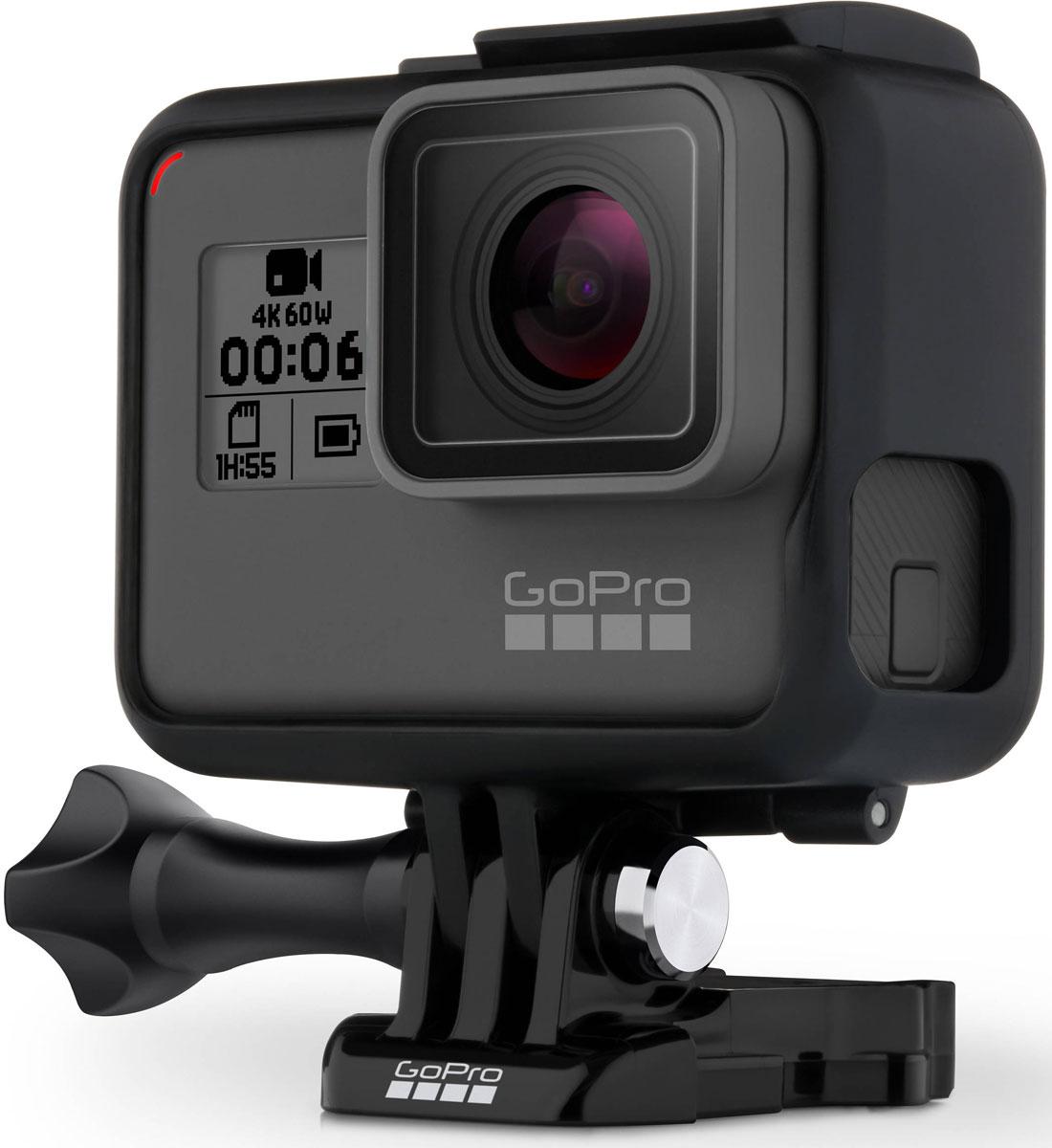 GoPro Hero6 Black Editionэкшн-камера(CHDHX-601)CHDHX-601Экшн-камера GoPro Hero6 Black Edition создана, чтобы снимать все, что вам кажется важным, и наслаждаться процессом. Мгновенно переносить данные на телефон, автоматически создавать видеоролик с Quikstories и наслаждаться результатом.Камера GoPro Hero6 имеет улучшенный процессор GP1, усовершенствованную стабилизацию изображения, возможность снимать видео в формате 4K с частотой кадров 60, фото в формате HDR, сенсорное масштабирование (зум).C процессором GP1 и стабилизацией нового поколения снимки на GoPro Hero6 станут более четкими, а видео ровным и плавным. Снимайте с рук, крепите камеру на монопод, фиксируйте в любых креплениях GoPro – кинематографическое качество вашего материала превзойдет даже самые смелые ожидания. Видео формата 4K возможно снимать с частотой 60 кадров в секунду. Это значит, вы сможете замедлить в 2 раза ролик сверхвысокой четкости и получить видео с одним из самых зрелищных эффектов –slowmotion (замедленная съемка).Снимайте фотографии в формате HDR, это откроет возможности проработки в мельчайших деталях света и теней снимков в программах-редакторах. Благодаря HDR при съемке на GoPro вы получите совершенно новые, сказочные цвета, приближенные к тому, что в действительности видит человеческий глаз.Сенсорное масштабирование (зум) на GoPro Hero6 изменит фокусное расстояние объекта, приблизит изображение и привнесет динамику в кадр. Голосовое управление на русском языке позволит управлять камерой дистанционно, когда устройство не находится в ваших руках. Начинайте и останавливайте съемку, меняйте режимы – и все это голосом.Экшн-камера имеет всего одну кнопку, настройки и установки просты и интуитивно понятны, меню GoPro Hero6 Black Edition на русском языке – управлять такой камерой с легкостью сможет даже ребенок!Емкость аккумулятора: 1220 мАч