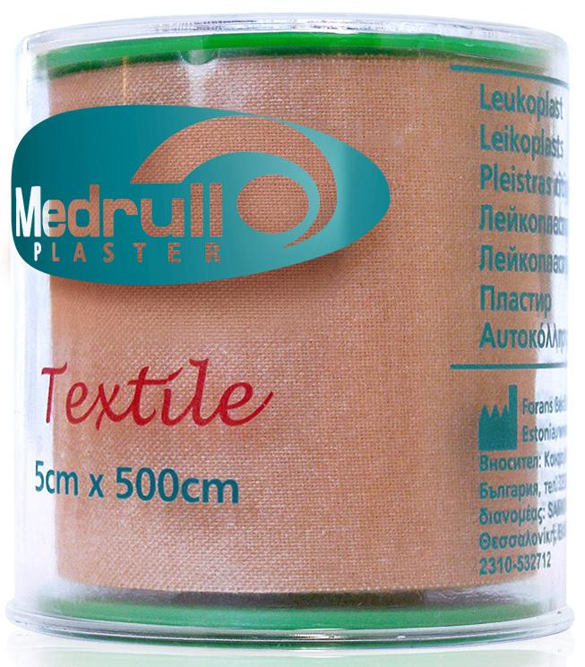 Medrull Лейкопластырь медицинский фиксирующий Textile, рулонный на текстильной основе, 5х500 см4742225005731ПЛАСТЫРЬ В РУЛЛОНЧИКЕ TEXTILE/ ТЕЛЕСНОГО ЦВЕТА Состав 100% хлопок. Структура материала Текстильная полоска на цинк – оксидной основе. Размер 5см x 500см