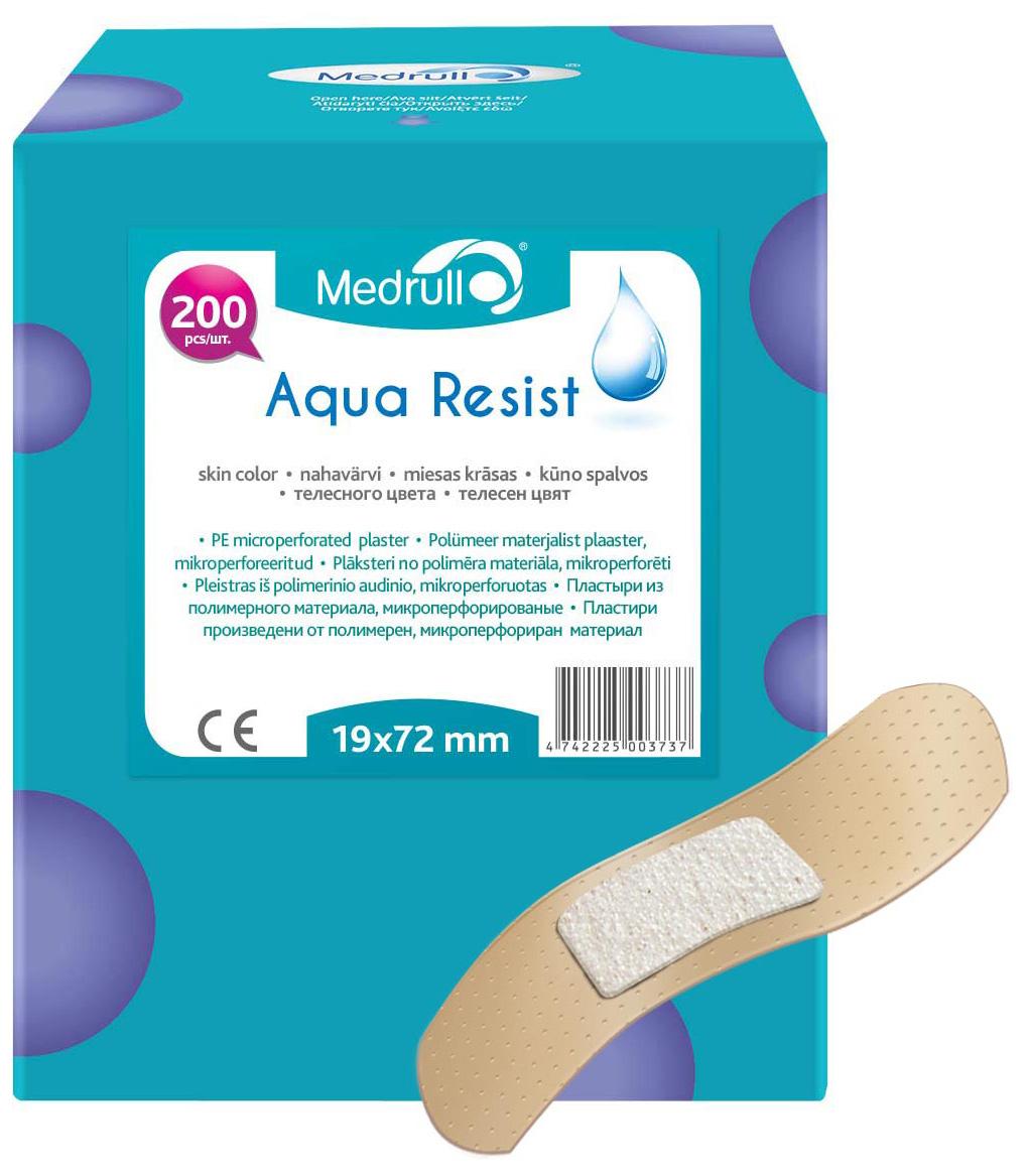 Medrull Набор пластырей Aqua Resist, 1,9х7,2 см, №2004742225003737Универсальные пластыри удобно и легко защитят рану от попадания влаги и грязи. Изготовлены из тонкого, перфорированного, полимерного материала, благодаря перфорации не препятствуют доступу воздуха к коже. Свойства пластыря: водонепроницаемые, грязенепроницаемые, гипоаллергенные, эластичные, дышащие, плотно прилегающие. Абсорбирующая подушечка изготовлена из вискозы и обладает высокой впитываемостью. Верхняя часть подушечки обработана полипропиленом, что защищает от вероятности прилипания пластыря к поврежденной поверхности кожи.