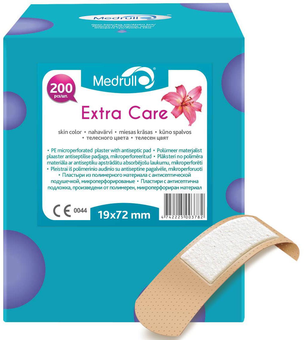 Medrull Набор пластырей Extra Care, 1,9x7,2 см, №2004742225003782Благодаря особенностям абсорбирующей подушечки, обработанной антисептическим веществом, эти пластыри помогут защитить рану от размножения бактерий и микроорганизмов. Рекомендовано использовать только после дезинфекции раны. Пластыри изготовлены из тонкого, перфорированного, полимерного материала.Свойства пластыря: водонепроницаемые, грязенепроницаемые, гипоаллергенные, эластичные, дышащие, плотно прилегающие. Абсорбирующая подушечка изготовлена из вискозы и обладает высокой впитываемостью. Верхняя часть подушечки обработана полипропиленом, что защищает от вероятности прилипания пластыря к поврежденной поверхности кожи. Пропитана антисептическим веществом - Cetyl pyridinium chloride 0.15%.
