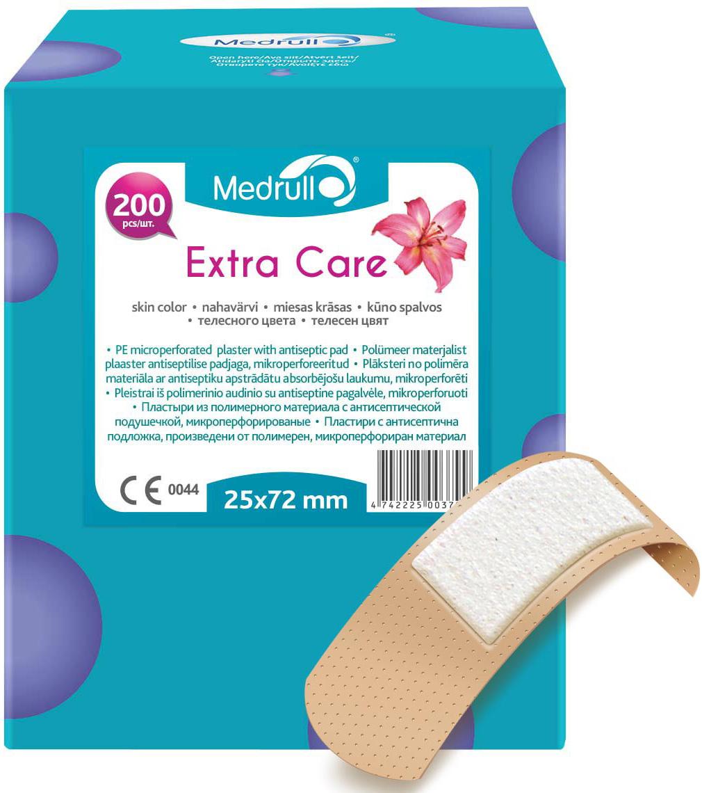 Medrull Набор пластырей Extra Care, 2,5x7,2 см, №2004742225003799Благодаря особенностям абсорбирующей подушечки, обработанной антисептическим веществом, эти пластыри помогут защитить рану от размножения бактерий и микроорганизмов. Рекомендовано использовать только после дезинфекции раны. Пластыри изготовлены из тонкого, перфорированного, полимерного материала.Свойства пластыря: водонепроницаемые, грязенепроницаемые, гипоаллергенные, эластичные, дышащие, плотно прилегающие. Абсорбирующая подушечка изготовлена из вискозы и обладает высокой впитываемостью. Верхняя часть подушечки обработана полипропиленом, что защищает от вероятности прилипания пластыря к поврежденной поверхности кожи. Пропитана антисептическим веществом - Cetyl pyridinium chloride 0.15%.