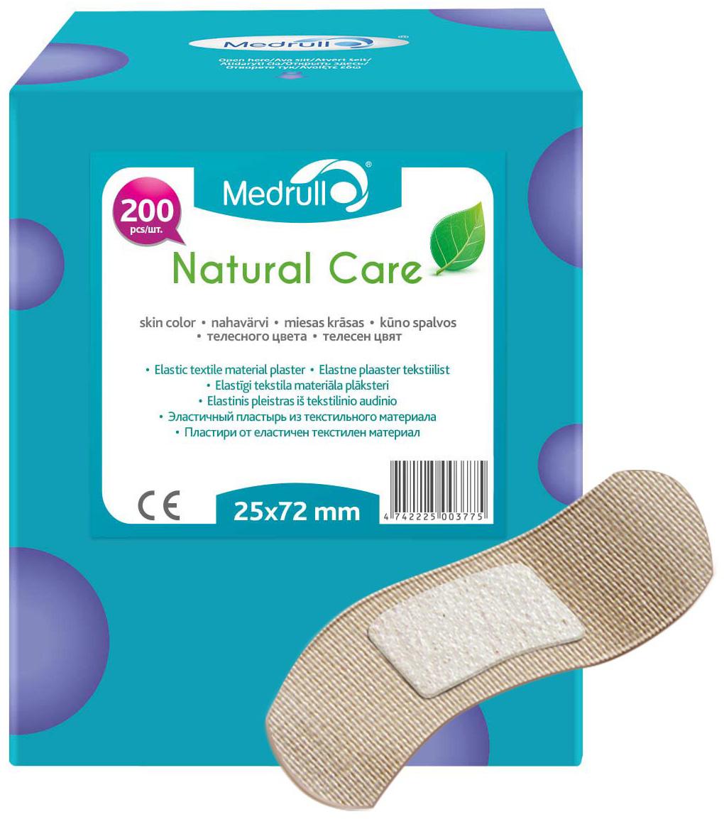 Medrull Набор пластырей Natural Care, 2,5х7,2 см, №2004742225003775Гипоаллергенные пластыри, предназначенные для людей, кожа которых, чувствительна к факторам окружающей среды. Пластыри изготовлены из приятного для кожи эластичного,текстильного материала, в состав которого входит - 65% хлопок, 35% полиамид, благодаря чему, возможность появления аллергии снижена до минимума. Свойства пластыря: грязенепроницаемые, гипоаллергенные, эластичные, дышащие, плотно прилегающие. Абсорбирующая подушечка изготовлена из вискозы и обладает высокой впитываемостью. Верхняя часть подушечки обработана полипропиленом, что защищает от вероятности прилипания пластыря к поврежденной поверхности кожи.