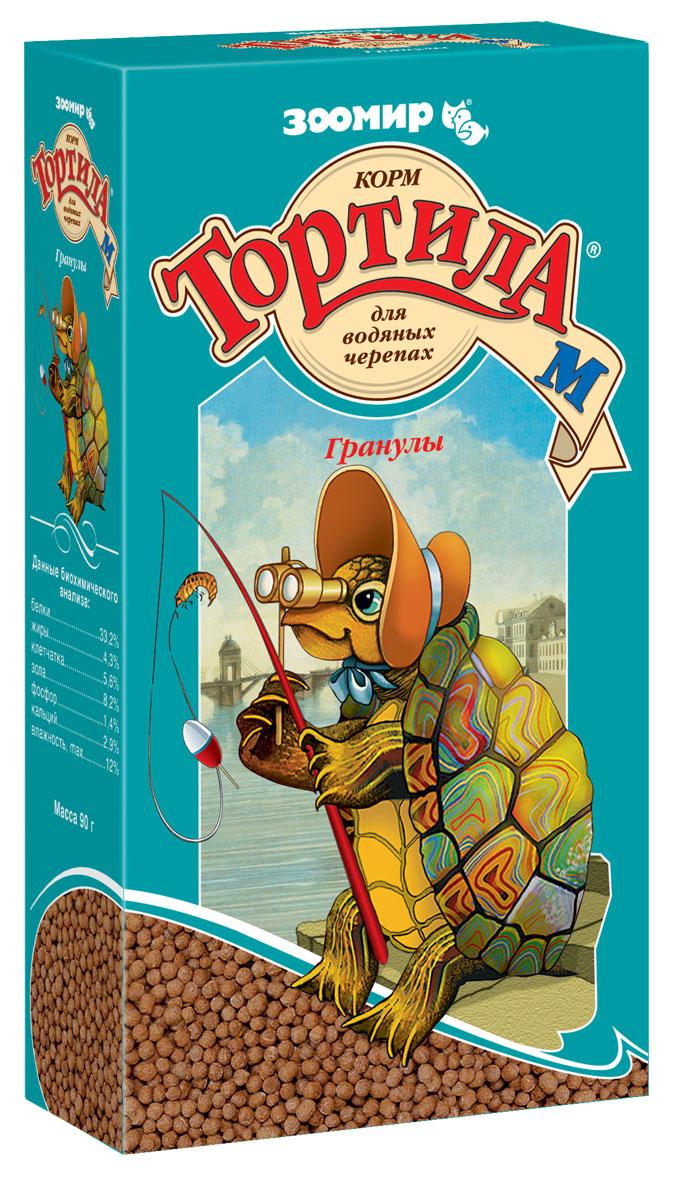 Корм для водяных черепах Тортила М, гранулы, 90 г