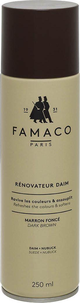 Восстановитель цвета для замши Famaco, цвет: коричневый, 250 мл2008Обновляет цвет и окрашивает изделия из замши и нубука. Проникая во внутренние слои кожи, благодаря красящим пигментам в составе, восстанавливает внешний вид изделия, пропитывает его, защищая от влаги и сырости.
