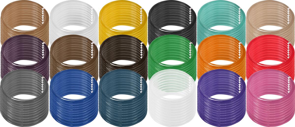 Plastiq пластик PLA 18 цветов по 100 м2990000001917Пластик PLA создается из самых разнообразных продуктов сельского хозяйства - кукурузы, картофеля, сахарной свеклы и т.п. - и считается более экологичным, чем ABS, в основе которого лежит нефть. Изначально он применялся для изготовления продуктовых упаковок и легко утилизируется в промышленных компостных установках. При плавлении не выделяет едких запахов.