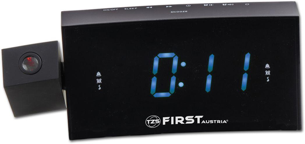 First FA-2421-8 радиочасыFA-2421-8 BlackРадиочасы с проектором FIRST 2421-8 Black имеет следующие характеристики:- LCD-дисплей 1.2 (синий),- проектор с фокусировкой 180° - тюнер: цифровой,- FM с памятью- функции: USB для зарядки мобильного телефона - часы- 2 будильника - календарь - термометр комнатный - кварцевый стабилизатор - сигнал: музыка или зуммер - отсрочка сигнала будильника - режим сна - подключение резервной батареи 1xSR2032 - электропитание 220 Вт.
