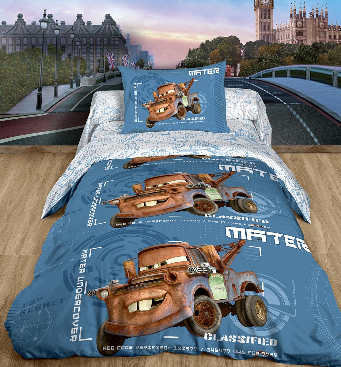 Постельное белье детское Мэтр (1,5 спальный КПБ, ранфорс, наволочка 50х70)168828Комплект постельного белья Мэтр, выполненный из ранфорса, непременно обрадует вашего малыша. Комплект состоит из пододеяльника, простыни и одной наволочки. Предметы комплекта оформлены изображением Мэтра - персонажа из мультфильма Тачки. Ранфорс - это удивительная ткань из 100% натурального хлопка. Плотность плетения и мягкость существенно превосходит лен и бязь.Мэтр - забавный эвакуатор и один из главных героев Тачек. Он надежный и преданный товарищ, бесстрашный спасатель, а еще - неутомимый выдумщик и невероятный фантазер. О таком друге мечтают все мальчишки! А недавно Мэтр поселился на постельном белье. Дети в восторге - ведь теперь любимый герой всегда будет рядом! Характеристики: Страна: Россия. Материал: ранфорс (100% хлопок). В комплект входят: Пододеяльник - 1 шт. Размер: 148 см х 210 см. Простыня - 1 шт. Размер: 148 см х 215 см. Наволочка - 1 шт. Размер: 50 см х 70 см.