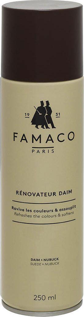 Восстановитель цвета для замши Famaco, цвет: бесцветный, 250 мл2014Обновляет цвет и окрашивает изделия из замши и нубука. Проникая во внутренние слои кожи, благодаря красящим пигментам в составе, восстанавливает внешний вид изделия, пропитывает его, защищая от влаги и сырости.