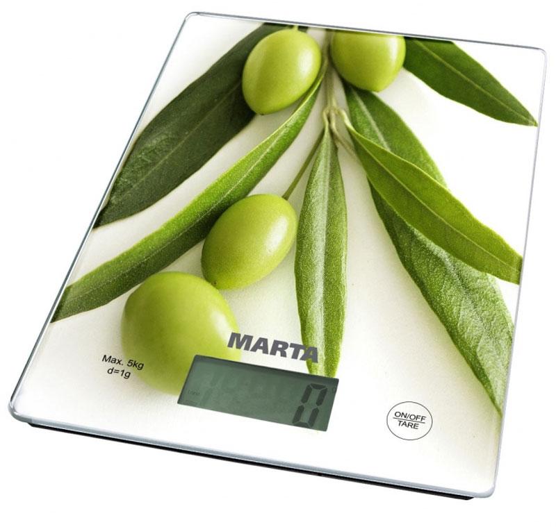 Marta MT-1634 Олива, White весы кухонныеMT-1634Весы кухонные электронные Marta MT-1634 Олива имеют цену деления в 1 г. Максимальный вес - 5 кг. Поверхность весов изготовлена из закаленного стекла. Весы кухонные электронные Marta MT-1634 Оливаимеют LCD Дисплей, а также функцию сброса веса тары, индикатор перегрузки и замены батареи, автоотключение.Единицы измерения: г, кг, унция, фунт, мл.