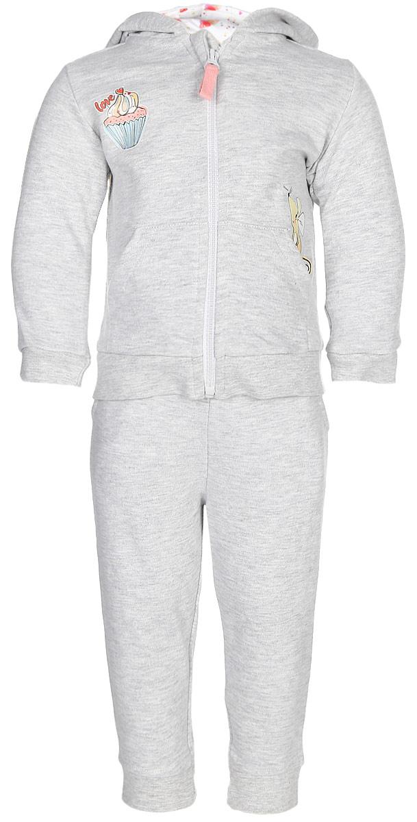 Комплект одежды для девочки Maloo by Acoola Docos: толстовка, брюки, цвет: серый. 22254180006_1900. Размер 74
