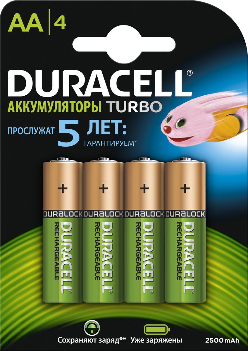 Аккумуляторная батарейка Duracell Recharge Turbo, АА 2500 mAh, 4 шт81530927Duracell Turbo размера AA - аккумулятор №1 по длительности работы от одного заряда (по сравнению со временем работы аналогичных перезаряжаемых батареек размера AA от одного заряда в одном и том же устройстве), выдерживающий до 400 циклов подзарядки. Благодаря долговечному ионному ядру вы получите потрясающий заряд энергии в каждой батарейке. Они продаются уже заряженными, потому вы можете начать их использование сразу же после приобретения. Неиспользованный заряд сохраняется до 12 месяцев. Аккумуляторы Duracell Turbo гарантированно прослужат вам до 5 лет. Эти мощные никель-металлгидридные аккумуляторы (NiMH) совместимы с любыми зарядными устройствами такого же типа. Благодаря долговечному заряду и редкой потребности в перезарядке аккумуляторы Duracell Turbo AA и в самом деле выделяются среди остальных батареек. Особенности: Duracell Turbo размера AA - аккумуляторы №1 по длительности работы от одного заряда (по сравнению со временем работы аналогичных перезаряжаемых батареек размера AA от одного заряда в одном и том же устройстве). - Аккумуляторы Duracell Turbo размера AAA остаются заряженными до 12 месяцев. - Аккумуляторы Duracell Turbo гарантированно прослужат вам до 5 лет. - Аккумуляторы Duracell Turbo продаются заряженными и готовы к использованию. - Аккумуляторы Duracell Turbo позволяют совершать до 400 перезарядок. - Идеально подходят для беспроводных игровых контроллеров, детских игрушек, беспроводных электронных устройств. - Представлены в размерах AA, AAA, C, D и 9V. - Совместимы с любыми зарядными устройствами для никель-металлгидридных аккумуляторов (NiMH).