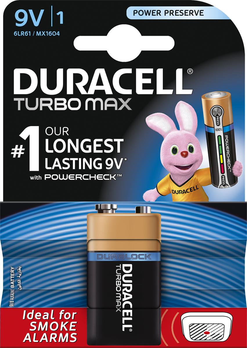 Батарейка щелочная Duracell Turbo Max, 9V, 1 шт81529776Duracell предлагает широкий выбор батареек для электронных устройств, требующих надежного источника питания. Duracell Turbo Max размера крона (9V) - щелочные батарейки, которые идеально подойдут для всех ваших устройств. Благодаря им энергоемкие устройства будут работать на полную мощность. Щелочные батарейки Duracell Turbo Max - самые долговечные батарейки, оснащенные ядром повышенной плотности (самые долговечные батарейки Duracell размера крона (9V) по результатам тестов 2015г на основе международного стандарта МЭК для детекторов дыма). Технология Powercheck™ позволяет легко определить уровень заряда каждой батарейки, чтобы избежать нежелательных перебоев в работе устройств, и повторно использовать батарейки в менее энергоемких устройствах даже тогда, когда они перестают работать в более энергоемких (храните батарейки вместе и не смешивайте их с неиспользованными во втором устройстве). Достаточно всего лишь нажать на белые точки, расположенные на обоих концах батарейки, и индикатор покажет оставшийся уровень заряда. Кроме того, благодаря особой технологии Duralock неиспользованные батарейки Duracell могут сохранять заряд до 10 лет при хранении в обычных условиях. Это лучшие щелочные батарейки Duracell для таких энергоемких устройств, как цифровые камеры, фотовспышки, электронные игрушки и аудиосистемы высокой мощности. И, конечно же, они прекрасно подойдут для часто используемых устройств: механизированных игрушек, фонариков, портативных игровых устройств, электробритв, CD-плееров, электрических зубных щеток. Особенности: - Батарейки Duracell Turbo Max оснащены уникальным индикатором заряда Powercheck™, благодаря которому можно легко определить уровень заряда каждой батарейки. - Самая долговечная батарейка размера крона (9V) по результатам тестов, проведенных в 2015 г на основе международного стандарта МЭК для детекторов дыма; результаты могут отличаться в зависимости от устройства. - Батарейка, благодаря кото
