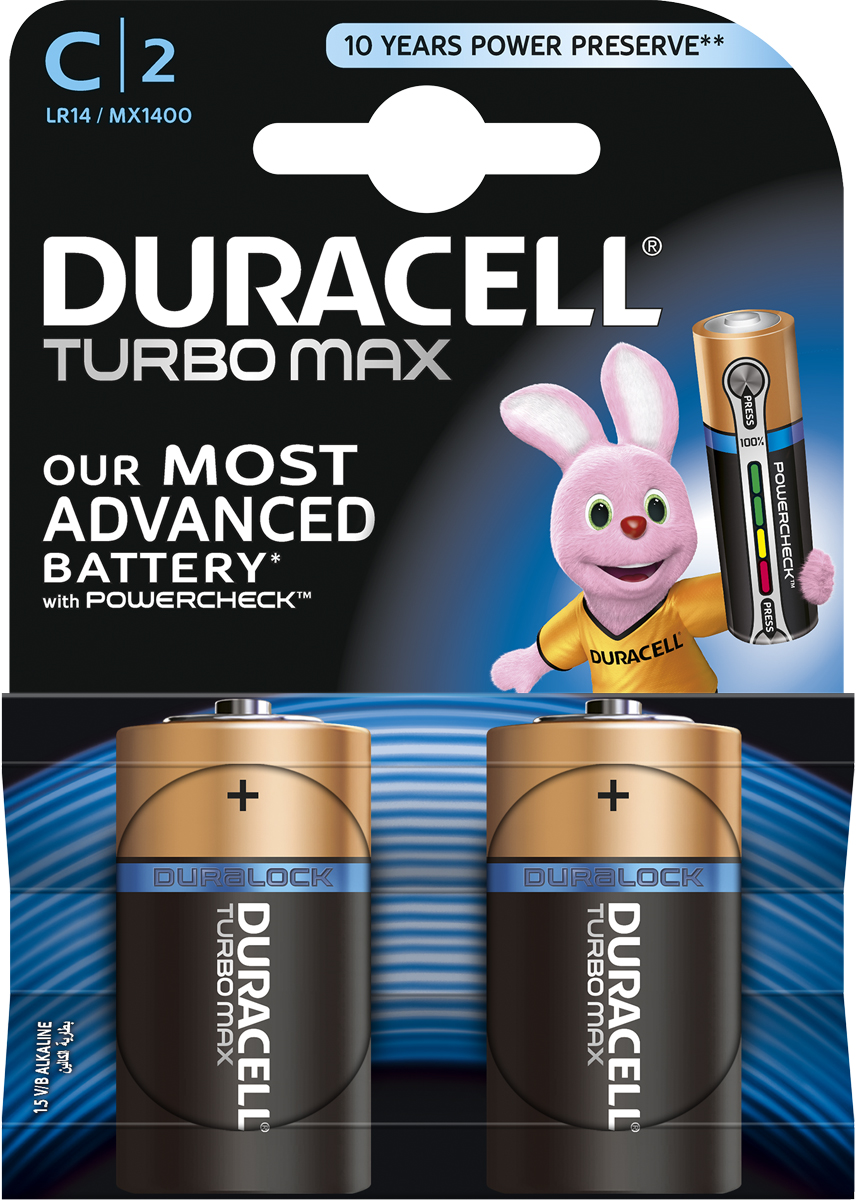 Батарейка щелочная Duracell TurboMax, тип C, 2 шт81529780Duracell предлагает широкий выбор батареек для электронных устройств, требующих надежного источника питания. Duracell Turbo Max - щелочные батарейки, которые идеально подойдут для всех ваших устройств. Благодаря им энергоемкие устройства будут работать на полную мощность. Щелочные батарейки Duracell Turbo Max - самые высокоэффективные батарейки (по сравнению с щелочными аккумуляторами размера AAA, C и D). Технология Powercheck™ позволяет легко определить уровень заряда каждой батарейки, чтобы избежать нежелательных перебоев в работе устройств, и повторно использовать батарейки в менее энергоемких устройствах даже тогда, когда они перестают работать в более энергоемких (храните батарейки вместе и не смешивайте их с неиспользованными во втором устройстве). Достаточно всего лишь нажать на белые точки, расположенные на обоих концах батарейки, и индикатор покажет оставшийся уровень заряда. Кроме того, благодаря особой технологии Duralock неиспользованные батарейки Duracell могут сохранять заряд до 10 лет при хранении в обычных условиях. Это лучшие щелочные батарейки Duracell для таких энергоемких устройств, как цифровые камеры, фотовспышки, электронные игрушки и аудиосистемы высокой мощности. И, конечно же, они прекрасно подойдут для часто используемых устройств: механизированных игрушек, фонариков, портативных игровых устройств, электробритв, CD-плееров, электрических зубных щеток. Особенности: - Батарейки Duracell Turbo Max оснащены уникальным индикатором заряда Powercheck™, благодаря которому можно легко определить уровень заряда каждой батарейки. - Самая высокоэффективная батарейка (по сравнению со щелочными аккумуляторами типа AAA, C и D). - Батарейка, благодаря которой часто используемые устройства с высоким уровнем потребления энергии будут работать на полную мощность. - С батарейками Duracell Turbo Max ваш фонарь будет светить дольше и ярче (по сравнению с ведущими аналогами в ходе тестирования на основе вс