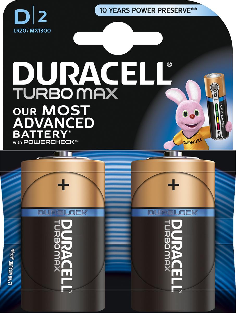 Батарейка щелочная Duracell Turbo Max, тип D, 2 шт81529786Duracell предлагает широкий выбор батареек для электронных устройств, требующих надежного источника питания. Duracell Turbo Max - щелочные батарейки, которые идеально подойдут для всех ваших устройств. Благодаря им энергоемкие устройства будут работать на полную мощность. Щелочные батарейки Duracell Turbo Max - самые высокоэффективные батарейки (по сравнению с щелочными аккумуляторами размера AAA, C и D). Технология Powercheck™ позволяет легко определить уровень заряда каждой батарейки, чтобы избежать нежелательных перебоев в работе устройств, и повторно использовать батарейки в менее энергоемких устройствах даже тогда, когда они перестают работать в более энергоемких (храните батарейки вместе и не смешивайте их с неиспользованными во втором устройстве). Достаточно всего лишь нажать на белые точки, расположенные на обоих концах батарейки, и индикатор покажет оставшийся уровень заряда. Кроме того, благодаря особой технологии Duralock неиспользованные батарейки Duracell могут сохранять заряд до 10 лет при хранении в обычных условиях. Это лучшие щелочные батарейки Duracell для таких энергоемких устройств, как цифровые камеры, фотовспышки, электронные игрушки и аудиосистемы высокой мощности. И, конечно же, они прекрасно подойдут для часто используемых устройств: механизированных игрушек, фонариков, портативных игровых устройств, электробритв, CD-плееров, электрических зубных щеток. Особенности: - Батарейки Duracell Turbo Max оснащены уникальным индикатором заряда Powercheck™, благодаря которому можно легко определить уровень заряда каждой батарейки. - Самая высокоэффективная батарейка (по сравнению со щелочными аккумуляторами типа AAA, C и D). - Батарейка, благодаря которой часто используемые устройства с высоким уровнем потребления энергии будут работать на полную мощность. - С батарейками Duracell Turbo Max ваш фонарь будет светить дольше и ярче (по сравнению с ведущими аналогами в ходе тестирования на основе в