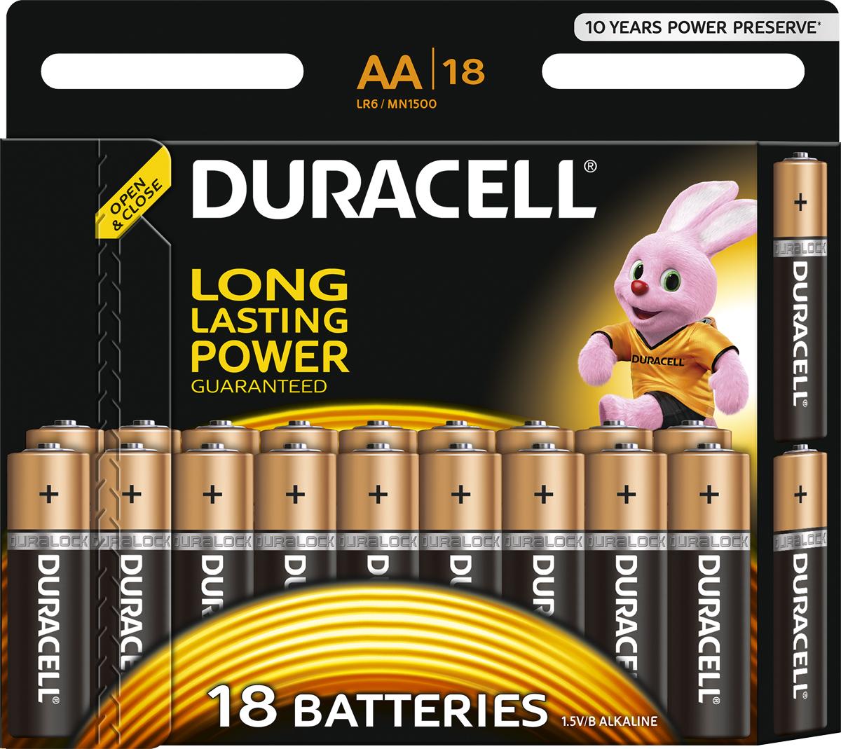 Набор щелочных батареек Duracell Basic, тип АА, 18 шт81483682Duracell предлагает широкий выбор батареек для электронных устройств, требующих надежного источника питания. Батарейки Duracell размера AA - универсальные щелочные батарейки, которые станут надежным источником питания для часто используемых устройств, нуждающихся в дополнительной мощности. Благодаря особой технологии Duralock неиспользованные батарейки Duracell могут сохранять заряд до 10 лет при хранении в обычных условиях. С этими батарейками вы можете полностью положиться на свое устройство. Батарейки Duracell - лучший выбор, если вы ищете надежный и долговечный источник питания для часто используемых устройств, таких как механизированные игрушки, фонарики, портативные игровые консоли, пульты дистанционного управления, CD-плееры. Особенности:- Щелочные батарейки Duracell размера AA - до 40% дополнительной мощности (по результатам тестов с использованием элементов питания LR6 на основе международного стандарта минимальной средней продолжительности разряда МЭК, 2015 г).- Батарейки Duracell - универсальные щелочные батарейки, которые подходят для часто используемых устройств.- Высококачественное внешнее нейлоновое покрытие защищает батарейки от протекания.- Благодаря особой технологии Duralock неиспользованные батарейки Duracell могут сохранять заряд до 10 лет при хранении в обычных условиях. - Представлены в размерах AA, AAA, C, D и 9V.Уважаемые клиенты!Обращаем ваше внимание на возможные изменения в дизайне упаковки. Качественные характеристики товара остаются неизменными. Поставка осуществляется в зависимости от наличия на складе.