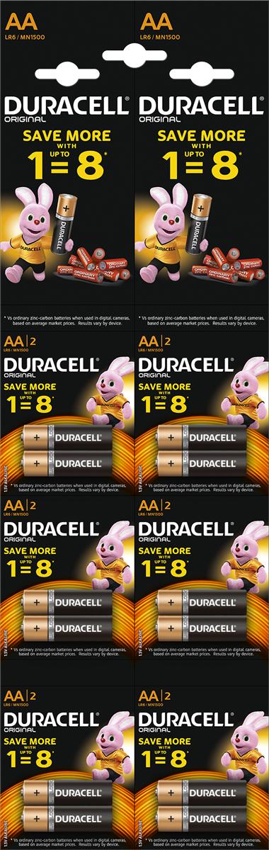 Набор щелочных батареек Duracell Basic, тип АА, 12 шт81528136Duracell предлагает широкий выбор батареек для электронных устройств, требующих надежного источника питания. Батарейки Duracell размера AA - универсальные щелочные батарейки, которые станут надежным источником питания для часто используемых устройств, нуждающихся в дополнительной мощности. Благодаря особой технологии Duralock неиспользованные батарейки Duracell могут сохранять заряд до 10 лет при хранении в обычных условиях. С этими батарейками вы можете полностью положиться на свое устройство. Батарейки Duracell - лучший выбор, если вы ищете надежный и долговечный источник питания для часто используемых устройств, таких как механизированные игрушки, фонарики, портативные игровые консоли, пульты дистанционного управления, CD-плееры. Особенности:- Щелочные батарейки Duracell размера AA - до 40% дополнительной мощности (по результатам тестов с использованием элементов питания LR6 на основе международного стандарта минимальной средней продолжительности разряда МЭК, 2015 г).- Батарейки Duracell - универсальные щелочные батарейки, которые подходят для часто используемых устройств.- Высококачественное внешнее нейлоновое покрытие защищает батарейки от протекания.- Благодаря особой технологии Duralock неиспользованные батарейки Duracell могут сохранять заряд до 10 лет при хранении в обычных условиях. - Представлены в размерах AA, AAA, C, D и 9V.