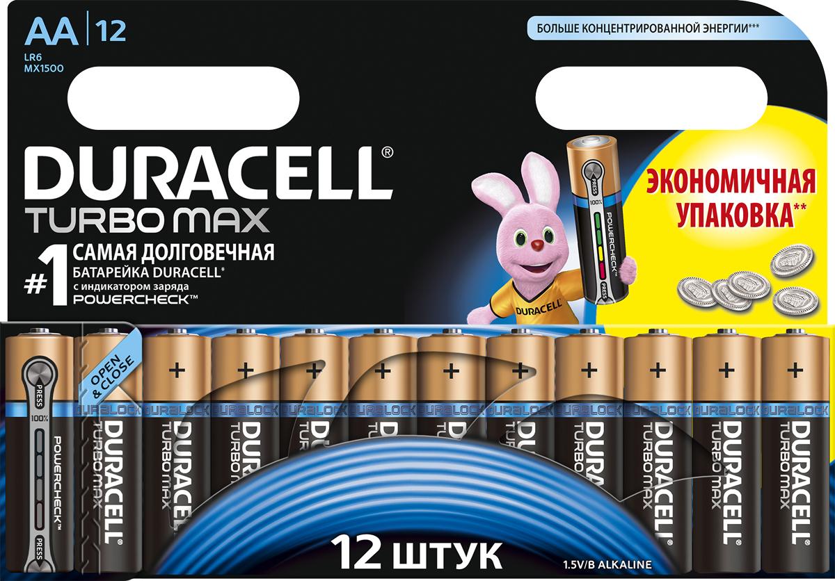 Набор щелочных батареек Duracell  Turbo Max , тип AA, 12 шт - Батарейки и аккумуляторы