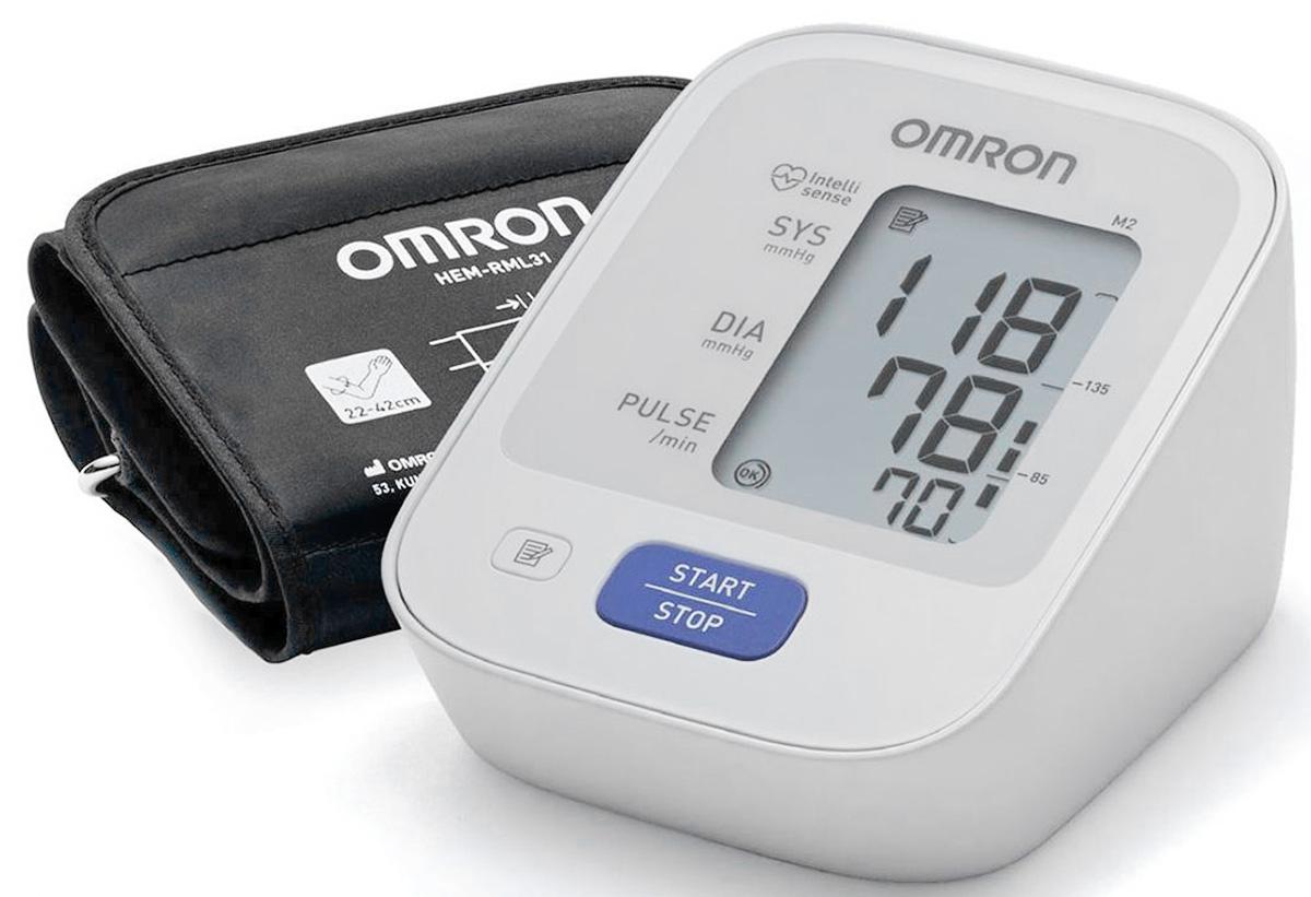 Omron M2 Basic с адаптером и универсальной манжетой HEM-7121-ALRU измеритель артериального давления и частоты пульса автоматический тонометр omron m2 basic hem 7121 alru адаптер питания универсальная манжета