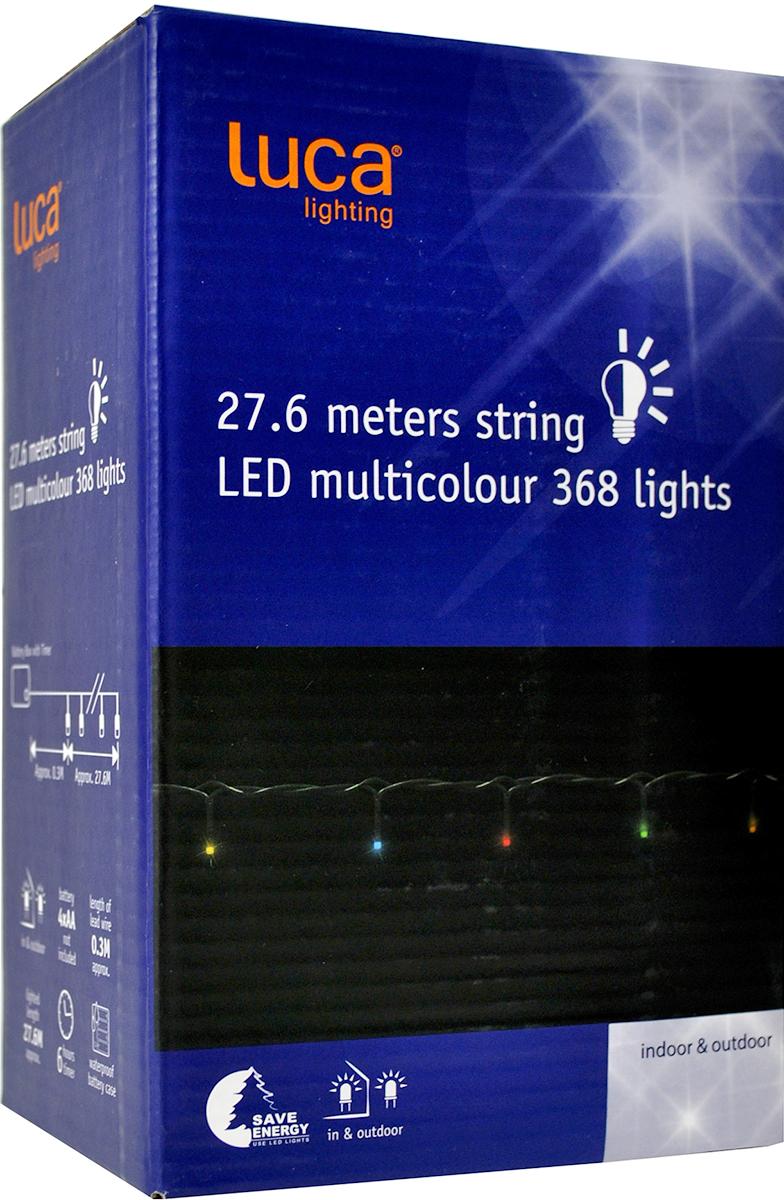 Гирлянда новогодняя Luca Lights, 368 ламп, длина 2760 см83090 (1034296)ГИРЛЯНДА МУЛЬТИКОЛОР Б/О 368 ЛАМП 2760СМ - питание от батареек (пальчиковых). Сейчас это тренд, так как многие хотят использовать их на улице, а тянуть провод из дома неудобно.- и уличные, и внутренние.- временной контроллер. Когда вы включаете кнопку, огоньки горят 6 часов с этого момента. Через 6 часов отключаются. Через 18 часов после выключения включаются снова.Пример: Сегодня в 6 вечера включили, в 12 ночи они выключатся сами, завтра в 6 вечера включатся заново.Это фишка, чтобы экономить батарейки- в таком режиме огоньки от одних батареек горят 30 дней подряд.- есть кнопка чтобы этот режим отключить, либо необходимо вытащить батарейки, но главное для понимания – если мы не хотим, чтобы лампочки зажигались каждые сутки, этого можно избежать- температурный режим, в котором батарейки не замерзают проверен «до -10 градусов». Более холодной температуры в Голландии нет. - блок для батареек особенный, проложен плотными резинками, так что он водонепроницаемый, что важно.Расстояние между лампочками 7,5 см.Цвет провода - черный
