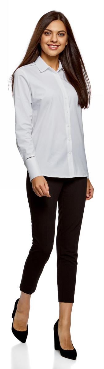 Блузка жен oodji Collection, цвет: белый. 21401408/14908/1000N. Размер 40-170 (46-170)21401408/14908/1000N