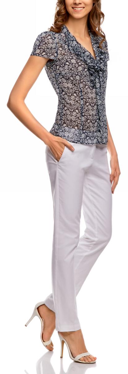 Блузка женская oodji Collection, цвет: темно-синий, белый. 21406022-4/10466/7912F. Размер 36-170 (42-170)