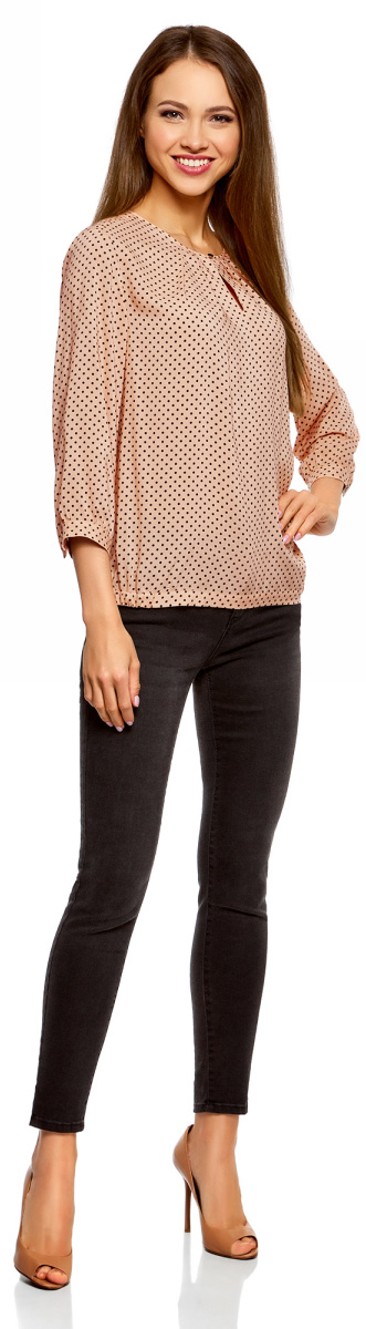 Блузка женская oodji Ultra, цвет: бежевый, черный. 11411166/24681/3329D. Размер 42-170 (48-170)11411166/24681/3329D