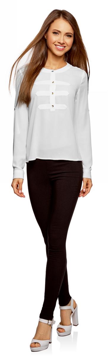 Блузка женская oodji Ultra, цвет: белый. 11411062-1/43291/1200N. Размер 40-170 (46-170) блузка женская oodji ultra цвет белый 11411062 1 43291 1200n размер 36 170 42 170