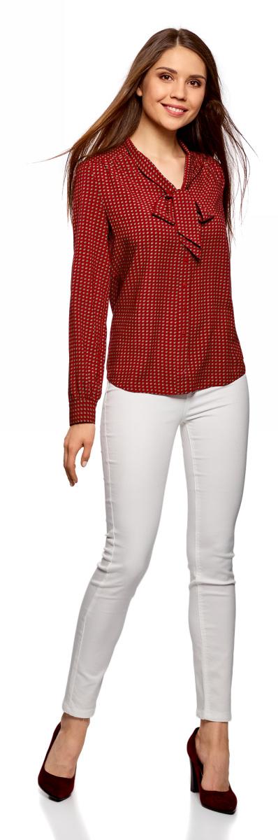 Блузка женская oodji Ultra, цвет: бордовый, бежевый. 11411168/47075N/4933G. Размер 36-170 (42-170)11411168/47075N/4933GСтильная блузка от oodji выполнена из натуральной вискозы. Модель с длинными рукавами застегивается на пуговицы, на груди дополнена лентами, завязывающимися в бант.