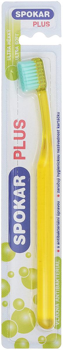 Spokar Зубная щетка Plus Ultra Soft, антибактериальная, цвет желтый3428US_желтыйАнтибактериальная зубная щетка с ультра мягкими волокнами, прямой срез, прозрачная ручка.