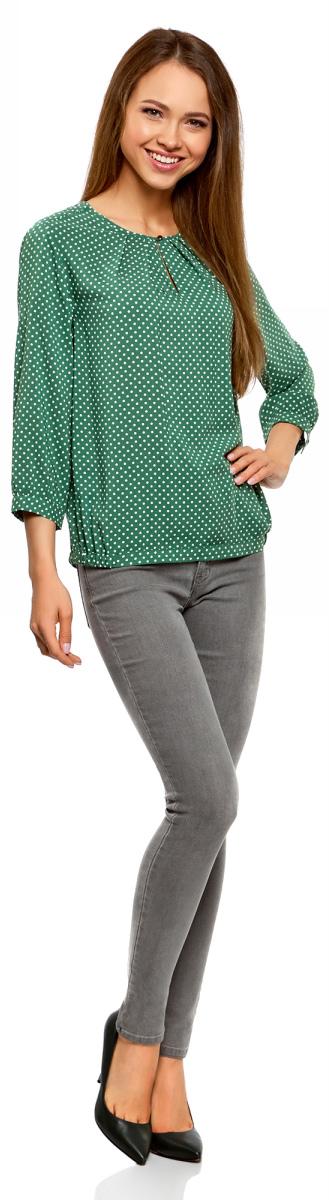 Блузка женская oodji Ultra, цвет: зеленый, белый. 11411166/24681/6210D. Размер 40-170 (46-170)11411166/24681/6210D