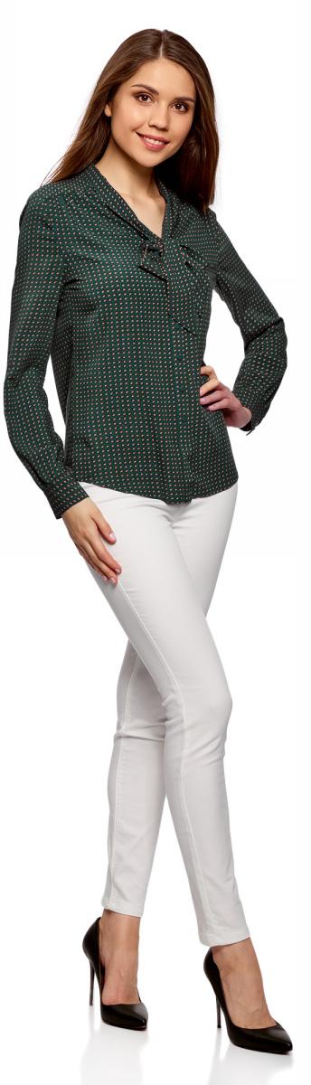 Блузка женская oodji Ultra, цвет: изумрудный, горчичный. 11411168/47075N/6D57G. Размер 36-170 (42-170)11411168/47075N/6D57G