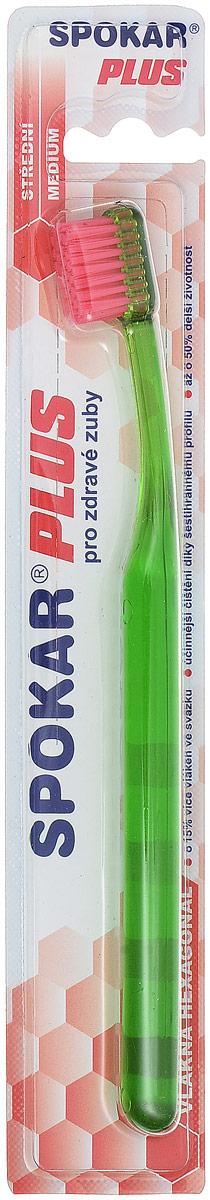 Spokar Зубная щетка Plus: Medium, средняя жесткость, цвет: зеленый3428M_зеленыйЗубная щетка Spokar Plus: Medium с шестиугольными волокнами имеет щетину средней жесткости. Прямой срез щетины позволят равномерно очищать зубы, а удобная эргономичная ручка не позволит зубной щетке выскользнуть во время чистки зубов.Товар сертифицирован.