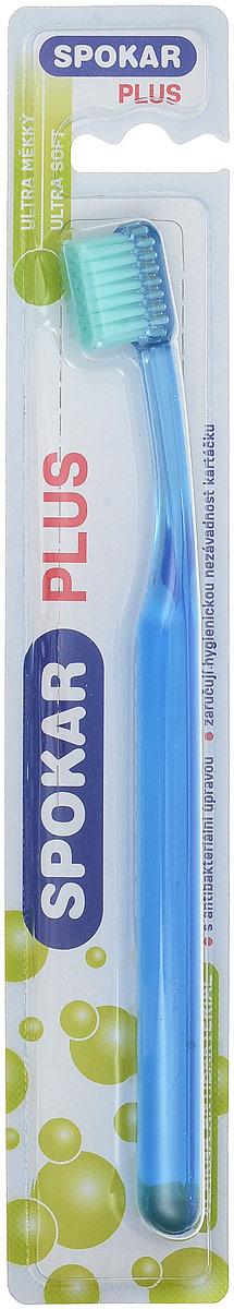 Spokar Зубная щетка Plus Ultra Soft, антибактериальная, цвет синий3428US_синийАнтибактериальная зубная щетка с ультра мягкими волокнами, прямой срез, прозрачная ручка.