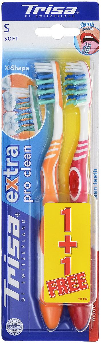 Trisa Зубная щетка Экстра 2 в 1 мягкая, цвет оранжевый, розовый626430_оранжевый, розовыйЗубная щетка Trisa Extra 2 for 1 - мягкая щетина - произведена в Швейцарии в соответствии с новейшими научными разработками. Профилактическая зубная щетка. Многоуровневая перекрестная щетина обеспечивает качественную чистку. На обратной стороне головки пластиковый скребок для языка. Удобный семейный вариант – в упаковке 2 щетки разного цвета по цене 1 щетки.
