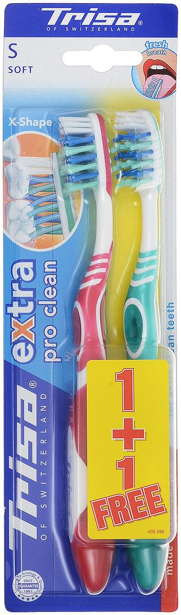Trisa Зубная щетка Экстра 2 в 1 мягкая, цвет розовый, бирюзовый626430_розовый, бирюзовыйЗубная щетка Trisa Extra 2 for 1 - мягкая щетина - произведена в Швейцарии в соответствии с новейшими научными разработками. Профилактическая зубная щетка. Многоуровневая перекрестная щетина обеспечивает качественную чистку. На обратной стороне головки пластиковый скребок для языка. Удобный семейный вариант – в упаковке 2 щетки разного цвета по цене 1 щетки.