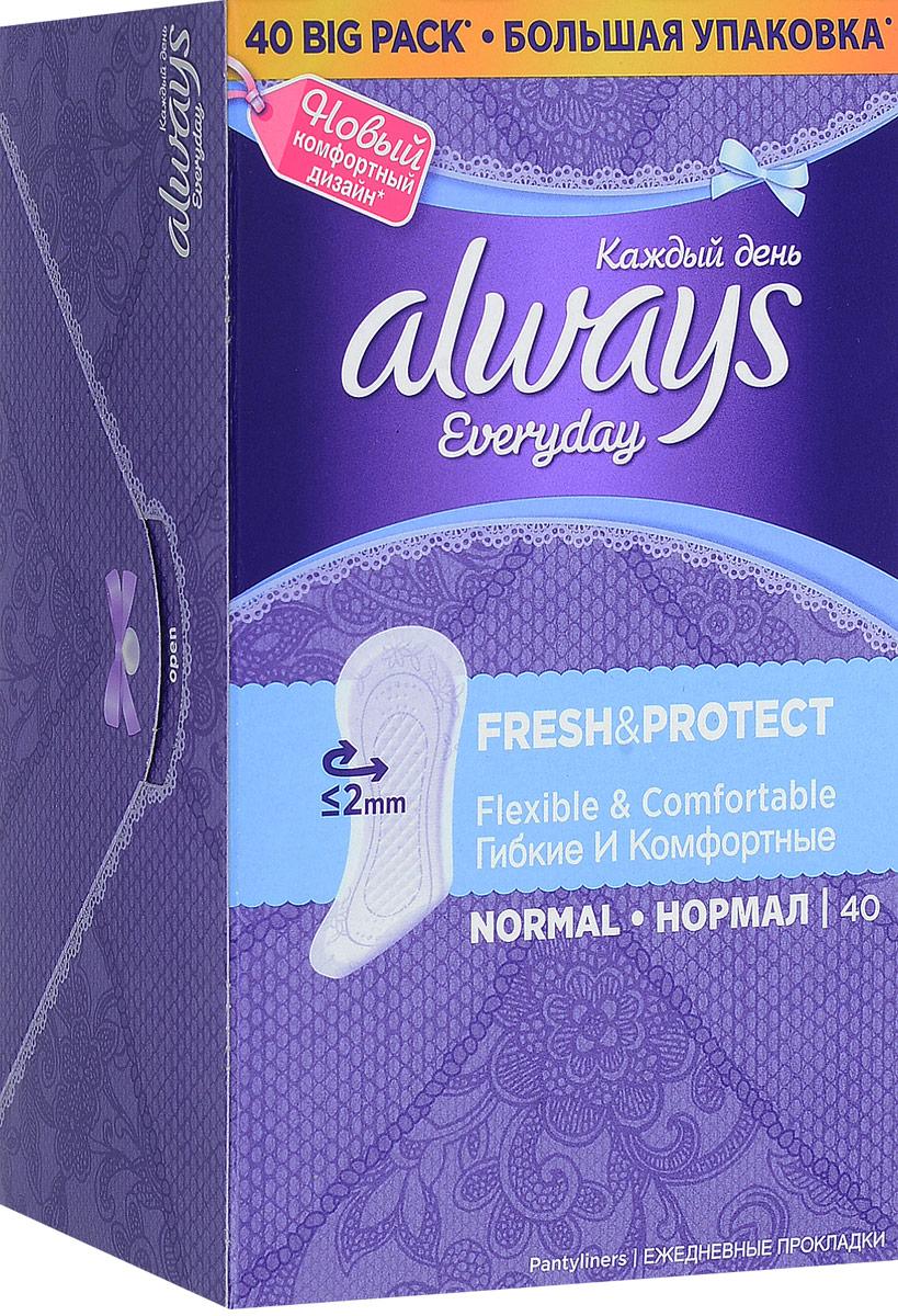 Always Ежедневные гигиенические прокладки Каждый день нормал Fresh & Protect, 40 штAL-83734996/2Always Ежедневные гигиенические прокладки Каждый день нормал Fresh & Protect, 40 шт