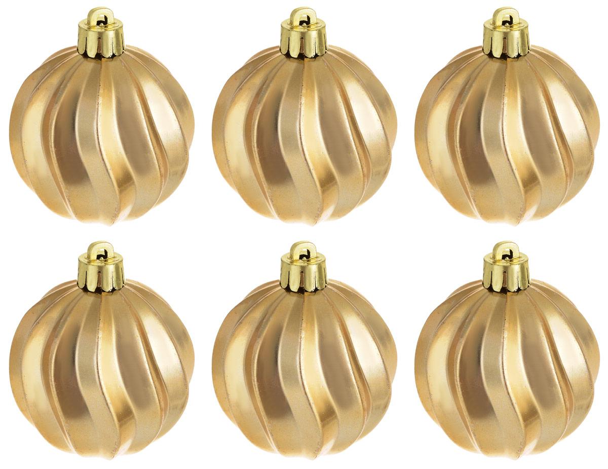 Новогоднее подвесное украшение Magic Time Шар. Волны, цвет: золотистый, 6 шт76014Новогоднее подвесное украшение Magic Time Шар изготовлено из качественного полистирола. Изделие представляет собой шар, декорированный рельефным рисунком. Подвешивается на елку с помощью текстильной петельки.Елочная игрушка - символ Нового года. Она несет в себе волшебство и красоту праздника. Создайте в своем доме атмосферу веселья и радости, украшая всей семьей новогоднюю елку нарядными игрушками, которые будут из года в год накапливать теплоту воспоминаний.