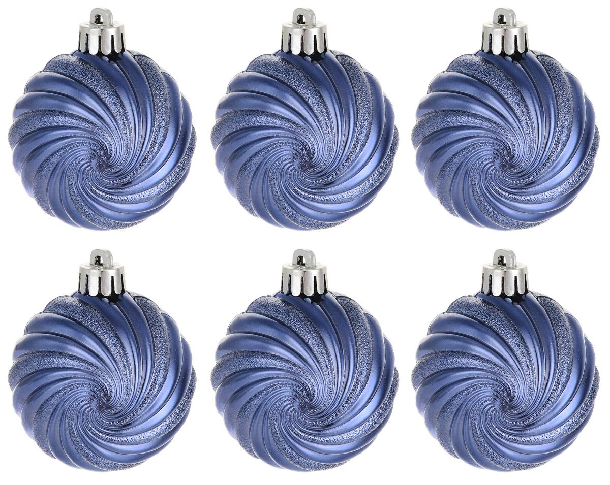 Новогоднее подвесное украшение Magic Time Шар. Вихрь, цвет: синий, 6 шт76062Новогоднее подвесное украшение Magic Time Шар. Вихрь изготовлено из качественного полистирола. Изделие представляет собой шар, декорированный блестящими и матовыми полосами в виде вихрей. Подвешивается на елку с помощью текстильной петельки.Елочная игрушка - символ Нового года. Она несет в себе волшебство и красоту праздника. Создайте в своем доме атмосферу веселья и радости, украшая всей семьей новогоднюю елку нарядными игрушками, которые будут из года в год накапливать теплоту воспоминаний.