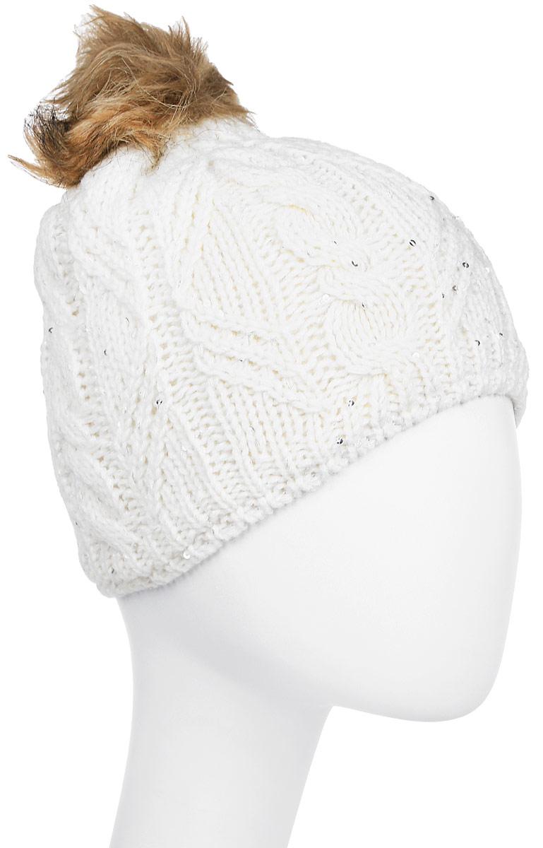 Шапка женская Luhta, цвет: белый. 838611619LV-010. Размер универсальный838611619LV-010