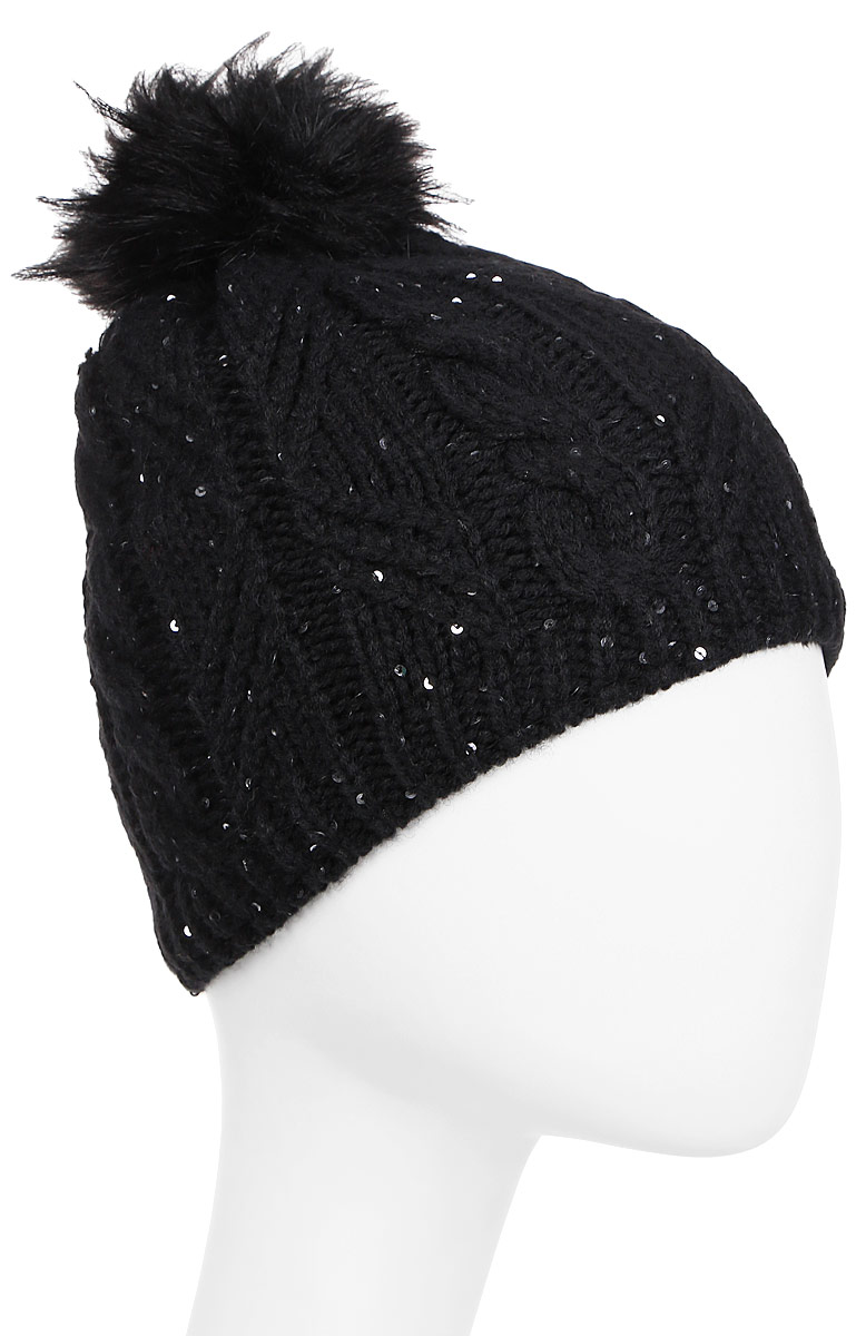 Шапка женская Luhta, цвет: черный. 838611619LV-990. Размер универсальный838611619LV-990