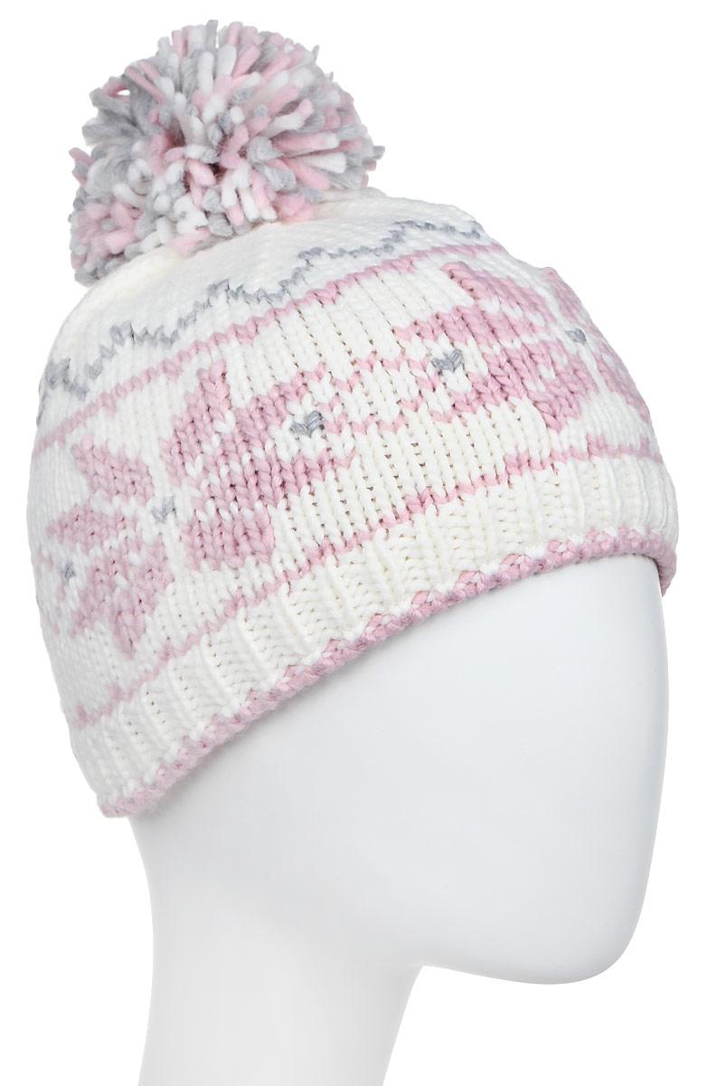 Шапка женская Luhta, цвет: белый, светло-розовый. 838627679LV-010. Размер универсальный838627679LV-010