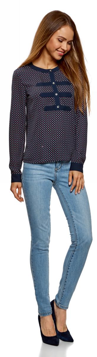 Блузка женская oodji Ultra, цвет: синий, коралловый. 11411062-1/43291/7543G. Размер 38-170 (44-170)11411062-1/43291/7543GСтильная блузка от oodji выполнена из шифона. Модель с длинными рукавами и круглым вырезом горловины на груди застегивается на пуговицы.
