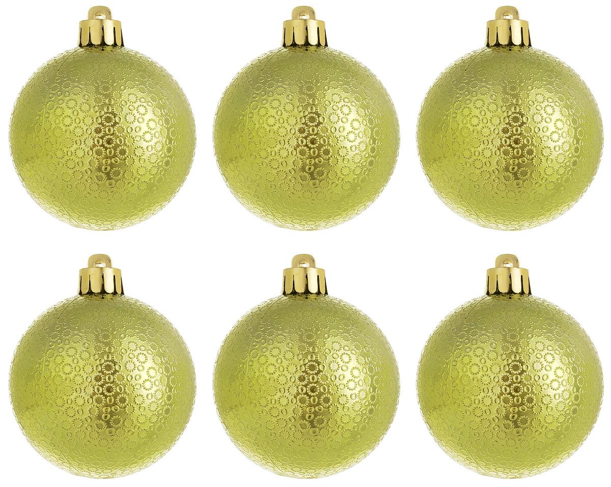 Новогоднее подвесное украшение Magic Time Шар. Мерцание, цвет: лаймовый, 6 шт76038Новогоднее подвесное украшение Magic Time Шар изготовлено из качественного полистирола. Изделие представляет собой шар, декорированный рельефным рисунком. Подвешивается на елку с помощью текстильной петельки.Елочная игрушка - символ Нового года. Она несет в себе волшебство и красоту праздника. Создайте в своем доме атмосферу веселья и радости, украшая всей семьей новогоднюю елку нарядными игрушками, которые будут из года в год накапливать теплоту воспоминаний.