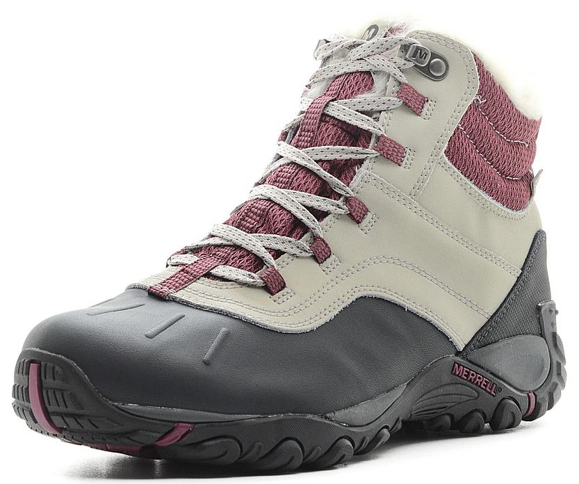 Ботинки женские Merrell Atmost Mid Wtpf, цвет: светло-серый. 310969C. Размер 8H (40)310969CБотинки Merrell изготовлены из натуральной кожи с текстильными вставками. Модель дополнена вставкой для защиты мыска. Защита от влаги - мембрана M-Select™ DRY. Обувь плотно фиксируется на ноге с помощью удобной шнуровки. Нейлоновый супинатор поддерживает свод стопы и защищает от ударов. Стелька из флиса придает максимальный комфорт при движении. Подошва оснащена рифлением для лучшего сцепления на заснеженных поверхностях.
