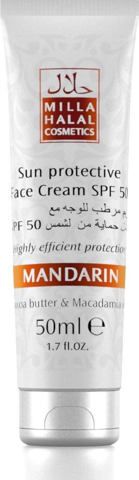 Milla Halal Cosmetics Солнцезащитный крем для лица SPF 50 Mandarin, 50 мл10798Солнцезащитный крем для лица SPF 50 обеспечивает надежную защиту от солнечных ожогов, предотвращая воспалительные процессы. Масло Какао эффективно питает, смягчает и увлажняет кожу. Масло Макадамии обладает восстанавливающими, увлажняющими и омолаживающими свойствами, способствует активной регенерации повреждённых тканей. Входящие в состав крема масла Миндаля, Кокоса, Ши и Оливы, также, как и масла Какао и Макадамии, являются натуральными защитными УФ-фильтрами.